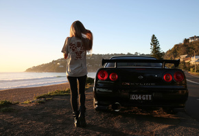 nissan skyline, R34, road, car, black car, nature, girl, blonde, beach