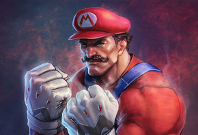 mario, mario bros, game, nintendo, blue eyes, suspenders, overalls, jeans, wallpaper, hd