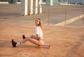women, sitting, sneakers, women outdoors, white stockings, skateboard, ass, white t-shirt, Calvin Klein, looking at viewer