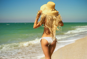 beautiful, women, blonde, pretty, sexy, model, perfect, hot, ass, bikini, woman, sun, beach, clouds, cute, hat, sand, sea