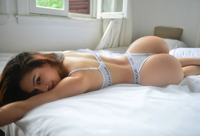 asian, girl, beautiful, women, cute, bed, pretty, panties, top, sexy, perfect, ass, hot, eyes