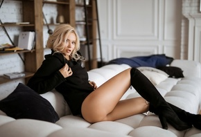 women, blonde, knee-high boots, couch, women indoors, brunette, ass, black sweater, black clothing, books