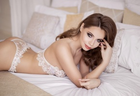 women, brunette, ass, smiling, in bed, pillow, lingerie, women indoors, pink nails, lying on front