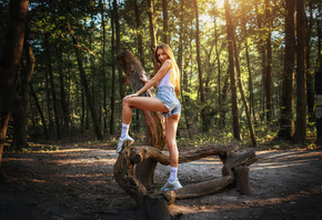 women, ass, blonde, smiling, jean shorts, trees, white socks, brunette, sne ...