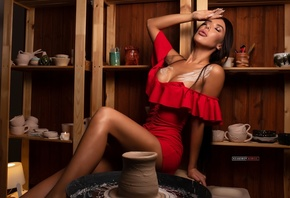women, Kirill Zakirov, brunette, sitting, red dress, cup, closed eyes, women indoors, juicy lips, lamp, candles