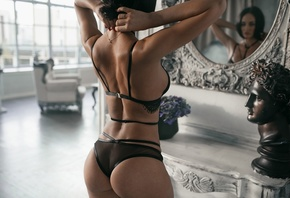 women, ass, brunette, black lingerie, mirror, reflection, red nails, window, bust, plants, back, see-through lingerie, women indoors, armchair