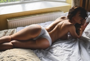 girl, brunette, beautiful, sexy, cute, perfect, panties, hips, pretty, long hair, beauty, bed, window