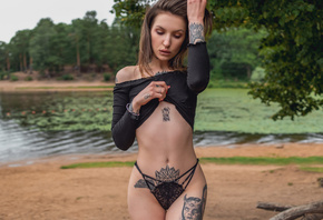women, water, belly, hips, tattoo, ribs, black panties, red nails, women outdoors