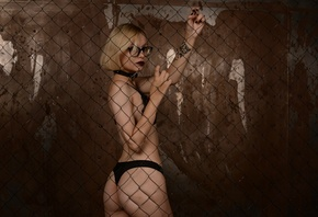 women, blonde, ass, tattoo, black lingerie, glasses, wall, black nails, women with glasses, short hair, collar
