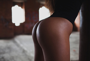 girl, sexy, hot, bikini, window, beautiful, cute, ass, leotard, women, brun ...