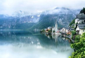 Австрия, Халльштатт, Горы, Озеро, Lake, Hallstatt, Альпы, Облака, Город