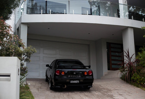 nissan skyline, r34, road, car, black car, house
