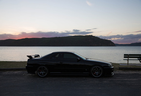 nissan skyline, r34, road, car, black car, nature, lake