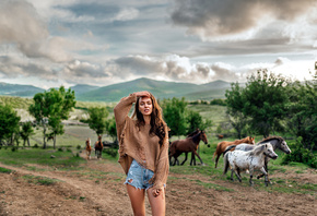 women, jean shorts, brunette, horse, sky, clouds, women outdoors, animals, mountains, trees, nature