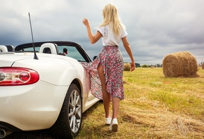 women, Kirill Zakirov, back, car, skirt, hay, women outdoors, women with cars, white shirt, sneakers, grass