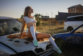 women, blonde, sitting, car, white stockings, sneakers, women outdoors, crop top, underboob, closed eyes, jean shorts, brunette, sky, long hair, boobs