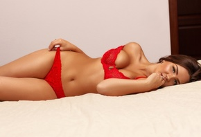 women, brunette, hips, in bed, red lingerie, women indoors, belly, wall