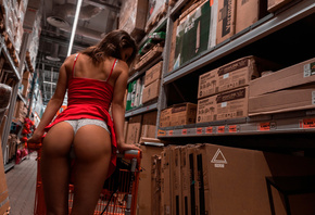 women, red dress, white panties, white lingerie, boxes, ass, women indoors, brunette, back, the gap