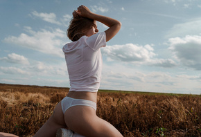 women, white panties, ass, white t-shirt, sneakers, white socks, sky, clouds, brunette, tattoo, women outdoors, kneeling