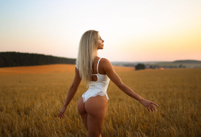 women, blonde, ass, women outdoors, sunset, white clothing, sky, pink nails, white lingerie, body lingerie