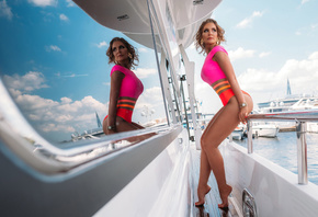 women, yacht, reflection, sky, clouds, ass, one-piece swimsuit, blonde, water, red nails, watch, looking away