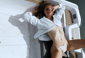 women, Alexander Belavin, white nails, panties, white shirt, boat, belly, brunette, water, closed eyes, women outdoors, ribs