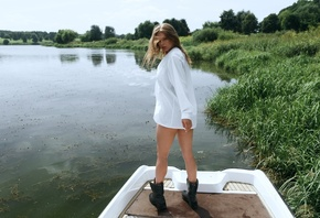 women, Alexander Belavin, shoes, water, boat, women outdoors, white shirt, brunette, looking at viewer, white nails, hair in face