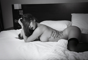 brunette, girl, tattoo, perfect, bed, window, stockings, beautiful, ass, boobs