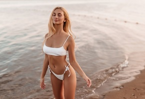 women, brunette, white bikini, women outdoors, blonde, sand, closed eyes, b ...
