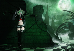 anime girl, anime, Moon, green eyes, dark