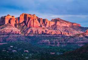 Sedona, Red, Rocks, Valley, Mountain range, Sunset, Sky view, Blue, Green, Trees, Landscape