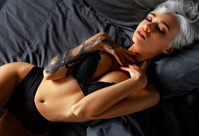 women, black lingerie, belly, tattoo, closed eyes, brunette, top view, shor ...