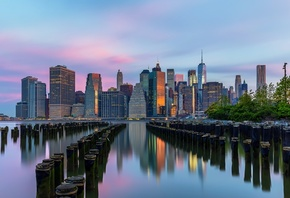 Brooklyn, Skyscrapers, New York City, Sunrise, Morning, Architecture, United States