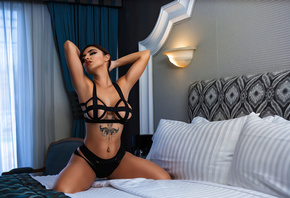 women, Dulce Soltero, kneeling, red lipstick, curtains, women indoors, tattoo, belly, black lingerie, armpits, in bed, pillow, pierced navel, hands in hair, luis gaston