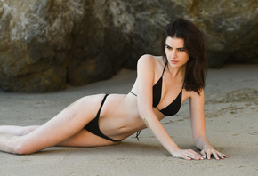 brunette, girl, beach, beautiful girl, model, bikini, black bikini, ass, bo ...