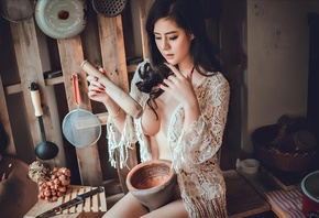 asian girl, kitchen, brunette, boobs, sensual, beautiful girl, model, window, girl, cute