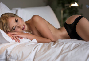 beautiful, blonde, girl, resting on bed