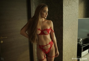 MelissaQ, red, lingerie