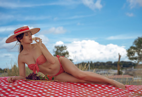women, hat, Grape, red bikini, sky, clouds, women outdoors, belly, hips, closed eyes, red nails, the gap