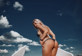 women, blonde, ass, brunette, red nails, watch, black bikini, sky, clouds, smiling, women outdoors