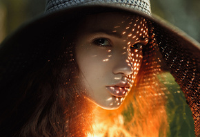Face, Girl, Hat, Model, Redhead, Sunny, Woman