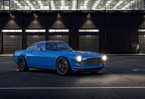 Volvo, P1800, Cyan, 2020, 4k, front view, blue, coupe, new blue
