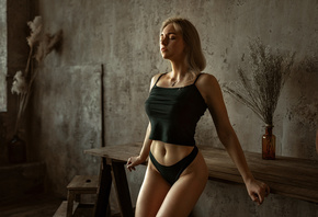 women, black panties, belly, wall, closed eyes, women indoors, necklace, blonde, table, brunette, black clothing