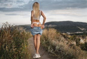 women, Artem SolovЬev, blonde, jean shorts, brunette, women outdoors, tank  ...