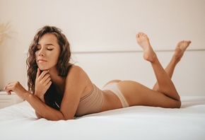 women, brunette, panties, in bed, women indoors, ass, feet in the air, eyeliner, closed eyes, pink nails