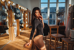 women, Grigoriy Lifin, ass, bodysuit, black nails, window, mirror, reflection, finger on lips, women indoors, light bulb, Asian, leotard, chair