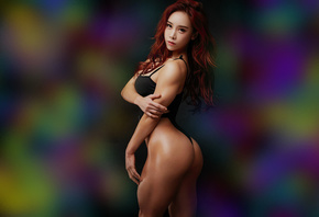 asian girl, asian woman, fitness girl, ass, colors, red hair, model, leotard, black leotard, brunette, perfect body