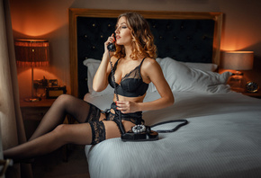 women, sitting, phone, bed, black lingerie, lamp, pillow, women indoors, closed eyes, red nails, garter belt, brunette