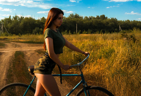 women, bicycle, ass, sky, clouds, women outdoors, crop top, belt, black belt, long hair, women with bicycles, camouflage