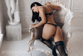 women, Aleksandr Semanin, brunette, black lingerie, women indoors, red lipstick, ass, tattoo, black stockings, statue, armchair, wooden floor